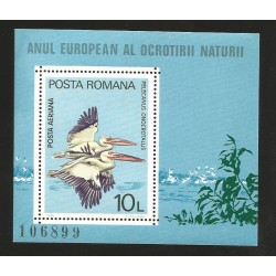 E)1980 ROMANIA, PELICANS, ANIMALS, BIRDS, EUROPEAN YEAR OF NATURE PROTECTION, REGISTERED, SOUVENIR SHEET, MNH