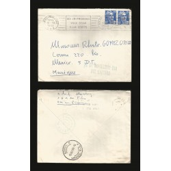 B)1953 FRANCE, NOVEMBER 12TH DAY OF CARRIER, FRANCE POST STRIP OF 2, INTERNAL USED, XF