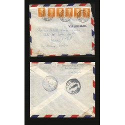 B)1952 NERDELAND, QUEEN, ROYAL, QUEEN JULIANA, PAIR OF 6, CIRCULATED COVER FROM NERDELAND TO MEXICO, SC 308 A76, XF