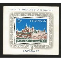 E)1975 SPAIN, INTERNATIONAL PHILATELIC EXHIBITION, PALACE, SOUVENIR SHEET, MHN