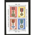 E)1994 ROMANIA, ROMANIAN MILITARY DECORATIONS, YEAR OF MEDAL, SC 3971 A1120, SOUVENIR SHEET OF 4, MNH