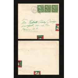 B)1950 UNITED STATES, GEORGE WASHINGTON, PAIR OF 3, CIRCULATED COVER FROM USA TO MEXICO, XF