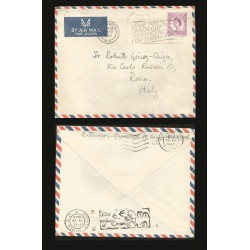 B)1965 LONDON, QUEEN ELIZABETH, CIRCULATED COVER FROM LONDON TO ITALY, AIRMAIL, XF