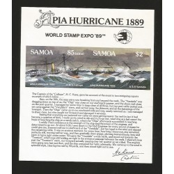 O) 1989 SAMOA,APIA HURRICANE -CYCLONE PACIFIC APIA - CYCLONE 1889,VESSEL -TIE CALYPSO 1884, WORLD STAMP EXPO, MNH