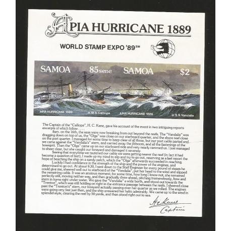 O) 1989 SAMOA,APIA HURRICANE -CYCLONE PACIFIC APIA - CYCLONE 1889,VESSEL -TIE CALYPSO 1884, WORLD STAMP EXPO, MNH