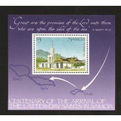 O) 1989 SAMOA, CHURCH APIA - GRAND TEMPLE, ARCHITECTURE, SOUVENIR MNH