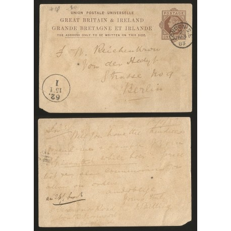 O) 1883 GREAT BRITAIN, ONE PENNY BROWN - QUEEN VICTORIA, POSTAL STATIONARY TO BERLIN, XF