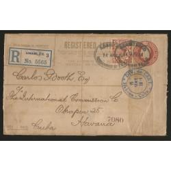 O) 1914 GREAT BRITAIN, 1/2 PENCE- KING GEORGE V, POSTAL STATIONARY REGISTERED,DIV. DE CERT-SEAL RECEPTION TO CARIBE, XF