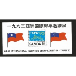 E)1993 SAMOA, TAIPEI'93, ASIAN INTL. INVITATION STAMP EXHIBITION, FLAGS, SC 831 A185, SOUVENIR SHEET, MNH