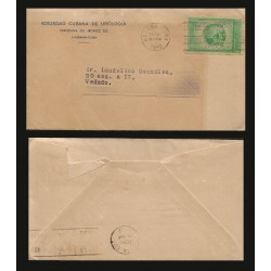 B)1942 CARIBE, CUBAN SOCIETY OF UROLOGY, GLOBE SHOWING WESTERN HEMISPHERE, CIRCULATED COVER FROM VEDADO HABANA, XF