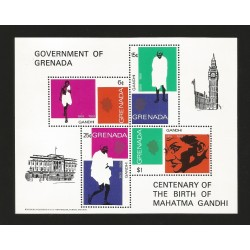 O) 1969 GRENADA, MAHATMA GANDHI -ATTORNEY- THINKER-POLITICAL  HINDU, SOUVENIR MNH