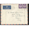 E)1965 GREAT BRITAIN, QUEEN ELIZABETH II, STRIP OF 2, AIR MAIL, CIRCULATED COVER TO ITALY, XF