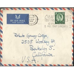 E)1960 GREAT BRITAIN, QUEEN ELIZABETH II, AIR MAIL, CIRCULATED COVER FROM OXFORD TO CALIFORNIA-USA, XF