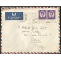 E)1965 GREAT BRITAIN, QUEEN ELIZABETH II, PAIR OF 2, AIR MAIL, CIRCULATED COVER TO ROME-ITALY XF