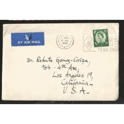 E)1960 GREAT BRITAIN, QUEEN ELIZABETH II, AIR MAIL, CIRCULATED COVER TO CALIFORNIA-USA, XF