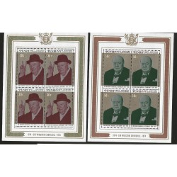 E)1974 COOK ISLANDS, SIR WINSTON CHURCHILL CENTENARY, SOUVENIR SHEET, SET OF 2, MNH