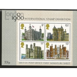 E)1979 GREAT BRITAIN, INTERNATIONAL STAMP EXHIBITION, SC A281 831-834, BRITISH ARCHITECTURE, SOUVENIR SHEET OF 4, MNH