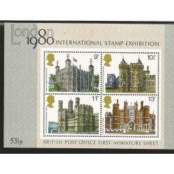 E)1979 GREAT BRITAIN, INTERNATIONAL STAMP EXHIBITION, SC A281 831-834, BRITISH ARCHITECTURE, SOUVENIR SHEET OF 4, MNH