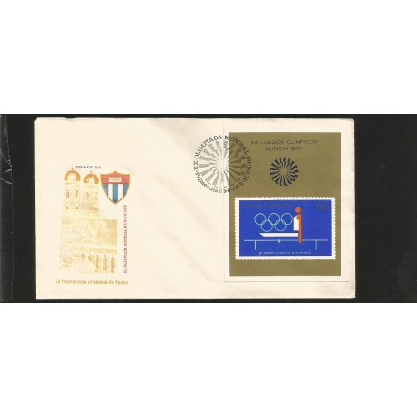 E)1972 CARIBBEAN, XX WORLD MUNICH OLYMPICS, SPORTS, GYMNASTIC, FDC