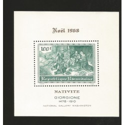 E)1969 ROMANIA, CHRISTMAS, NATIVITY, GIORGINE, NATIONAL GALLERY WASHIGNTON, SOUVENIR SHEET, MNH