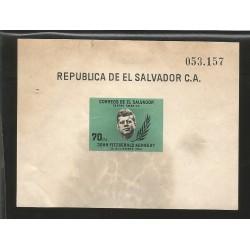 E)1964 EL SALVADOR, JOHN FITZGERALD KENNEDY, PRESIDENT, SC 750 A189, IMPERFORATED, SOUVENIR SHEET, MNH