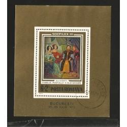 E)1973 ROMANIA, THE LETTER ON ROMANIAN PORTRAITS, SOCFILEX II, PHILATELIC EXHIBITION BUCHAREST, SOUVENIR SHEET, MNH