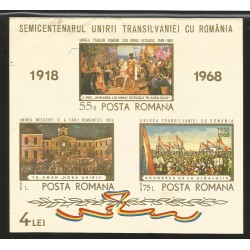 E)1968 ROMANIA, MICHAEL THE BRAVE´S ENTRY INTO ALBA LULIA BY D. STOICA SC A633 2055-2057, SOUVENIR SHEET OF 3, IMPERFORTED, USD