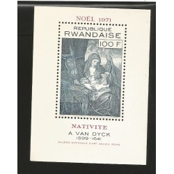 E)1971 RWANDA, CHRISTMAS, NATIVITY, VIRGIN MARIA AND CHILD PAINTING BY A VAN DICK, SOUVENIR SHEET, MHN