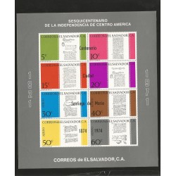 E)1971 EL SALVADOR, DECLARATION OF INDEPENDENCE, SESQUINCENTENNIAL OF AMERICA CENTER, LETTERS