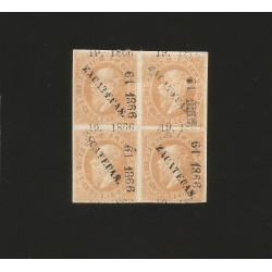 G)1866 MEXICO, ZACATECAS LITHO 25 CT.S BUFF, INVOICE 19, SUB 61 TO VILLA ORTEGO DE RIO GRANDE, A FINE LARGE ART OF B/4