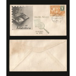 B)1955 CARIBE, VOLANTA CARRIAGE, PHILATELIC DAY, STAMP OF 1885 AND CONVENT OF SAN FRANCISCO, SC 539 A192, FDC