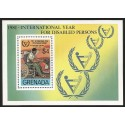 O) 1981 GRENADA, INTERNATIONAL YEAR FOR DISABLED PERSONS, AUTO MECHANIC CONFINED TO WHEELCHAIR. SOUVENIR MNH