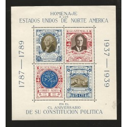 o) 1939 GUATEMALA, PRESIDENT WASHINGTON, ROOSEVELT, STAGES POLITICAL CONSTITUTION STATES OF AMERICA, MNH