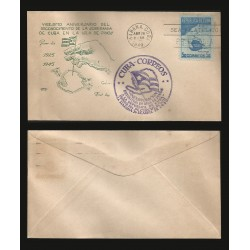 B)1949 CARIBE, FLAG, MAP, ISLAND, RECOGNITION SOVEREIGNTY, MAP OF ISLE OF PINES, SC 436 A153, FDC