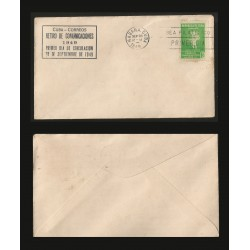 B)1949 CARIBE, TELEGRAPH, TECNOLOGY, WITHDRAWAL OF COMMUNICATIONS, ISMAEL CESPEDES, 1C, YELLOW GREEN, SC 438 A155, FDC