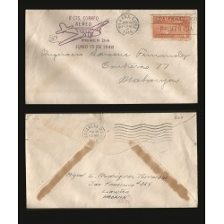 B)1948 CARIBE, COAST, AIRPLANE,AIRPLANE AND COAST OF HABANA C7 AP3, BROWN, AIRMAIL, CIRCULATED COVER FROM MATANZAS, XF