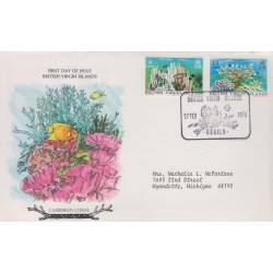 B)1978 BRITISH VIRGIN, FISH, FAUNA MARINE, CORAL, PAIR OF 2, CIRCULATED COVER FROM BRITISH VIRGIN ISLAND TO USA, FDC