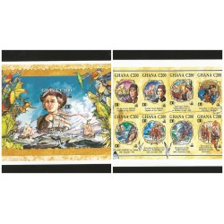 O) 1992 GHANA,IMPERFORATE,CHRISTOPHER COLUMBUS-COLON,DISCOVERY OF AMERICA,NARRATIVE PAINTINGS IN CHRONOLOGICAL,CHARACTERS, MNH