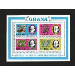 O) 1977 GHANA,TELEPHONE INVENTOR-ALEXANDER GRAHAM BELL-SPEECH THERAPIST, OVERPRINTED PRINCE CHARLES VISIT, SOUVENIR MNH