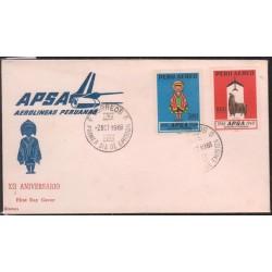 O) 1968 PERU, ANTARQUI -CHASQUI -DELIVERY COURIER -LEGEND- ALPACA-ARTIODACTILO-VICUGNA PACOS, FDC XF
