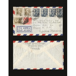 B)1940 SPAIN, DICTATOR, MILITARY, GENERAL FRANCO, STRIP OF 4, AND PAIR OF 4, CIRCULATED COVER FROM SPAIN TO MEXICO, AIRMAIL, XF