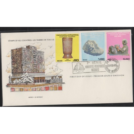 O) 1980 MEXICO,ARCHEOLOGY-CULTURE AND MAYA AZTEC-GREATER TEMPLE TENOCHTITLAN,CEREMONIAL VESSEL,SNAIL, FDC XF