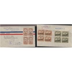 O) 1946 ECUADOR, OVERPRINT, VULTUR GRYPHUS-CONDOR, VOLCANO EL ALTAR, RECOMENDADO, COVER REGISTERED TO USA