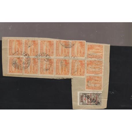 O) 1934 ECUADOR, FRAGMENT,MULTIPLE 10 CENTAVOS - OVERPRINT TIMBRE FISCAL, VOLCANO EL CHIMBORAZO, XF