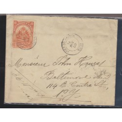 O) 1898 HAITI, COAT OF ARMS, 10 CENTIMES RED, COVER TO NEW YORK-USA, XF