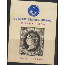 O) 1964 CARIBE, ISABELL II - SPAIN 1864, NATIONAL EXPOSURE FILATELICA CUBEX, SOUVENIR TONE XF