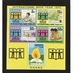 O) 1972 GHANA, INTERNATIONAL BOOK YEAR, BLIND, CHILDREN, RECREATION, STUDENTS, SOUVENIR MNH