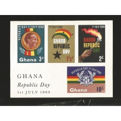 O) 1960 GHANA, REPUBLIC DAY 01 JULY 1960, SOUVENIR MNH