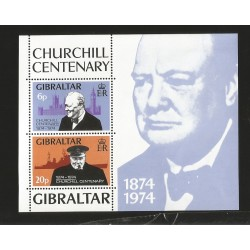 O) 1974 GIBRALTAR,WINSTON CHURCHILL,NOBEL LITERATURE PRIZE 1953-WAR CORRESPONDENT IN THE CARIBBEAN 1895,POLITICAL, MNH