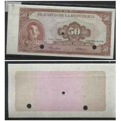 O) 1964 COLOMBIA, ERROR PROOF, BANKNOTE 50 PESOS ORO-CINCUENTA PESOS, GENERAL MARSHAL ANTONIO JOSE DE SUCRE, XF